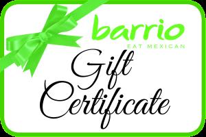 Gift Certificate Barrio